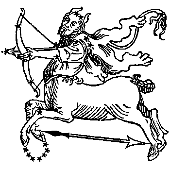 Sagittarius, illustration from a 1482 edition of a book by Hyginus.
